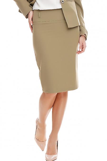 Юбка карандаш оливковая. Деловая женская одежда фото