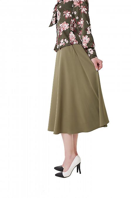 Купить юбку миди оливковую Деловая женская одежда фото