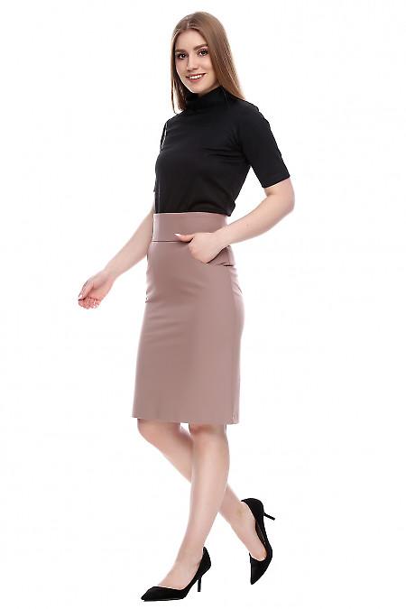 Купить юбку с высокой талией темно-бежевую Деловая женская одежда фото