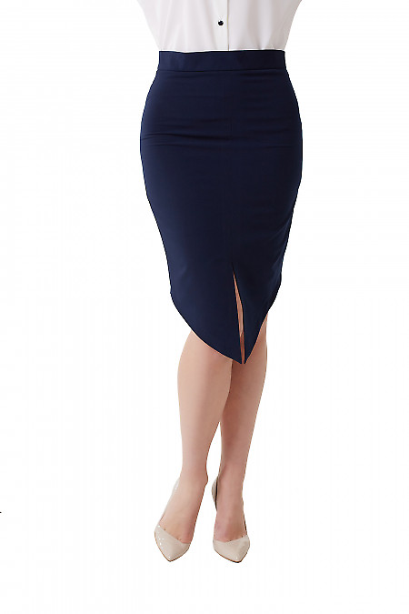 Юбка синяя с удлинённым передом. Деловая женская одежда