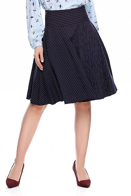 Купить юбку синюю в полоску полусолнце. Деловая женская одежда фото