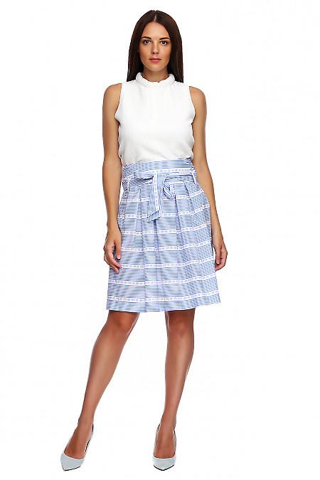 Летняя пышная юбка в голубую полоску