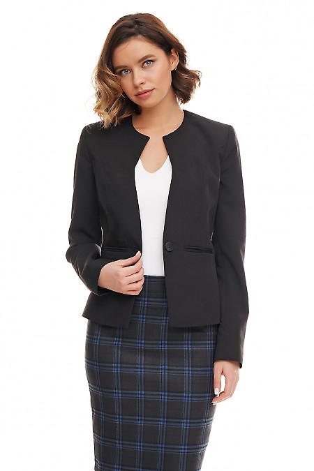 Жакет чёрный без воротника со вставками Деловая женская одежда