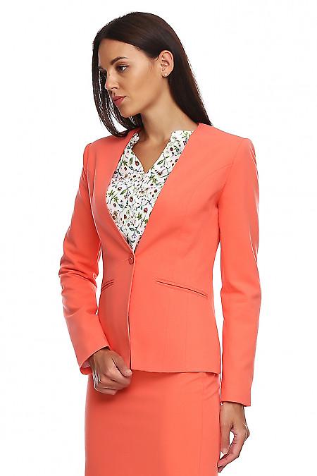 Купить коралловый женский жакет. Деловая женская одежда фото