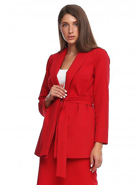 Жакет просторный красный на запах. Деловая женская одежда фото