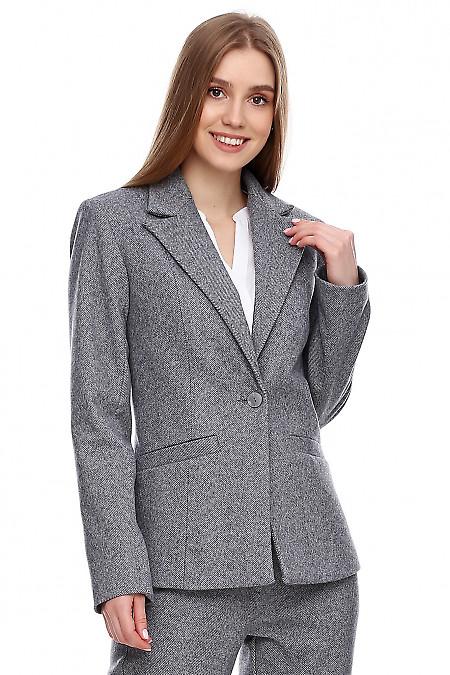 Купить теплый серый жакет. Деловая женская одежда фото