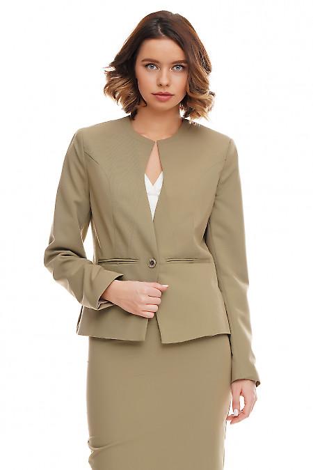 Жакет женский оливковый. Деловая женская одежда фото