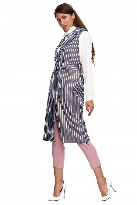 Серый длинный жилет из костюмной ткани