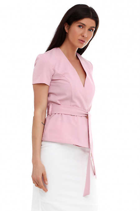 Купить жилетку розовую на запах. Деловая женская одежда фото