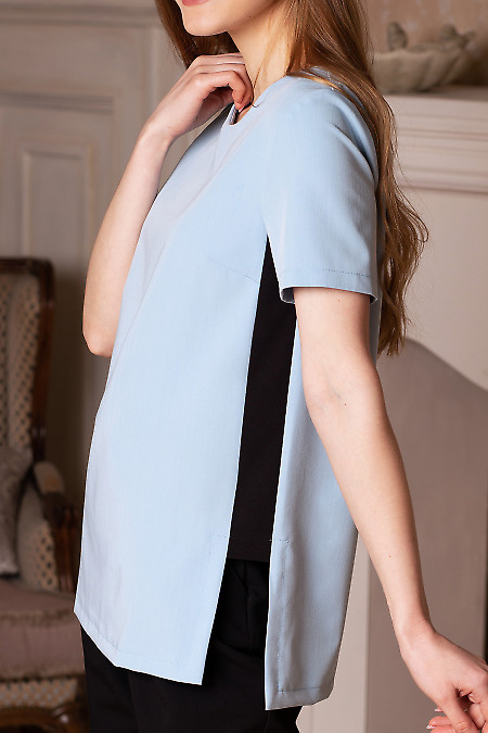 Купить голубую блузку со вставками. Деловая женская одежда фото