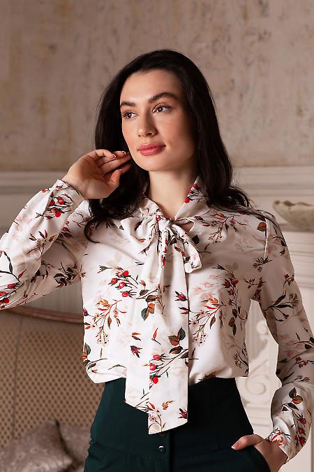 Блузка белая в розы с бантиком. Деловая женская одежда фото
