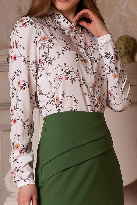 Купить блузку белую в желтый цветочек. Деловая женская одежда фото