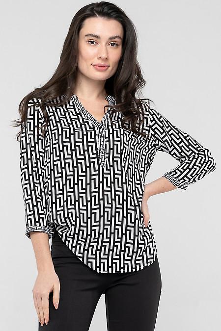 Блузка черно-белая из хлопка. Деловая женская одежда