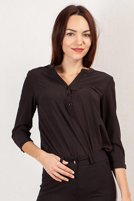 Блузка чёрная с кокеткой. Деловая женская одежда фото