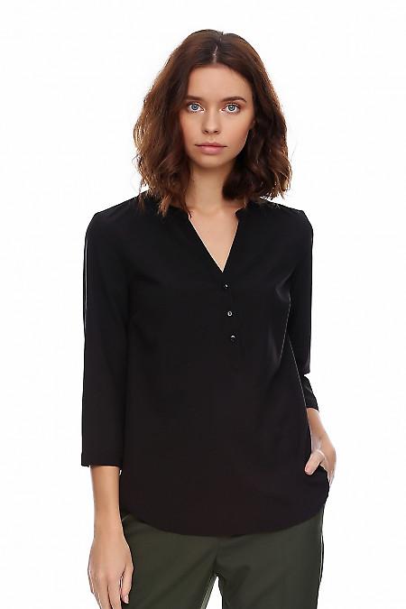 Блузка чёрная с кокеткой. Деловая женская одежда