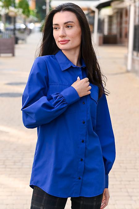Блузка электрик с карманами удлинённая. Деловая одежда