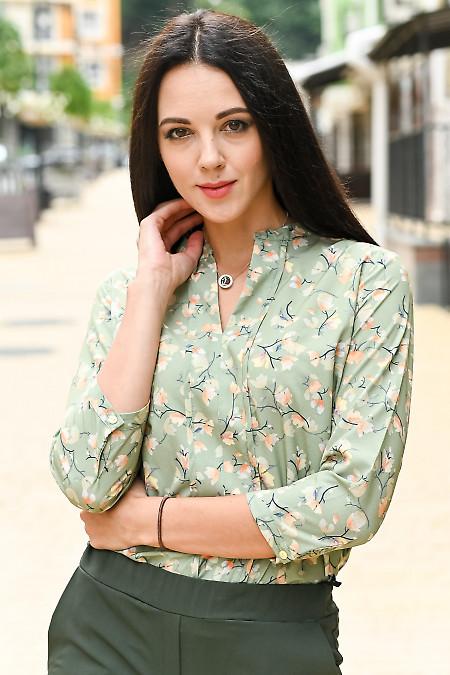 Жіноча оливкова блуза фото