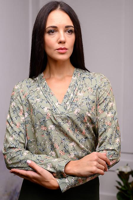Блузка оливковая в цветы. Деловая женская одежда
