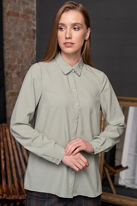 Блузка просторная оливковая. Деловая женская одежда фото