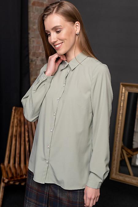Блуза оливковая из софта фото