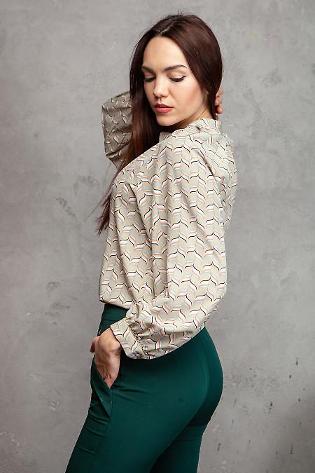 Купить блузку просторную в ромбики. Деловая женская одежда фото