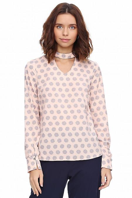 Блузка розовая со стойкой на пуговичке. Деловая женская одежда