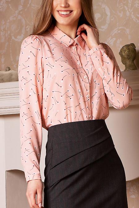 Купить розовую блузку в белые цветы. Деловая женская одежда фото