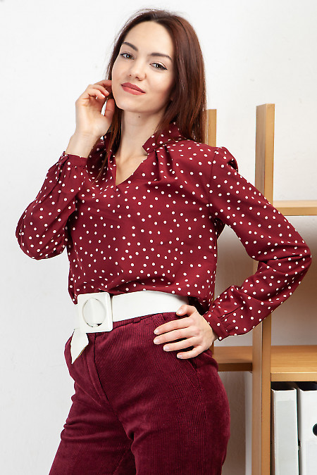 Блузка с защипами бордовая в горох. Деловая женская одежда