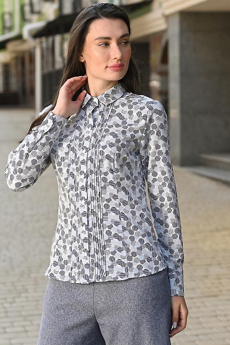 Блузка с защипами в синие кружки. Деловая женская одежда