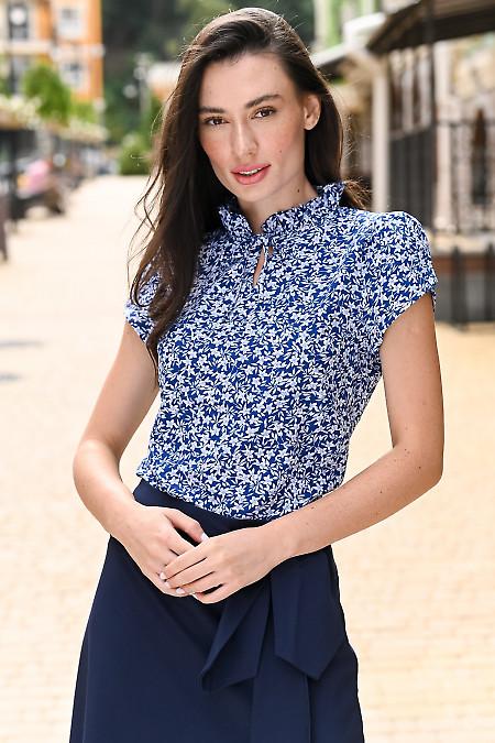 Блузка синяя в голубой цветок. Деловая женская одежда