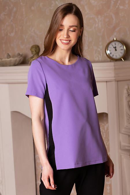 Блузка сиреневая со вставками. Деловая женская одежда