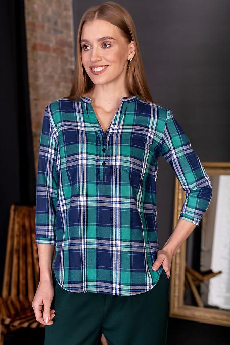 Блузка теплая в зеленую клетку. Деловая женская одежда