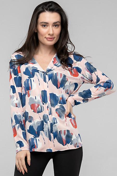 Блузка трикотажная розовая в синие круги. Деловая одежда