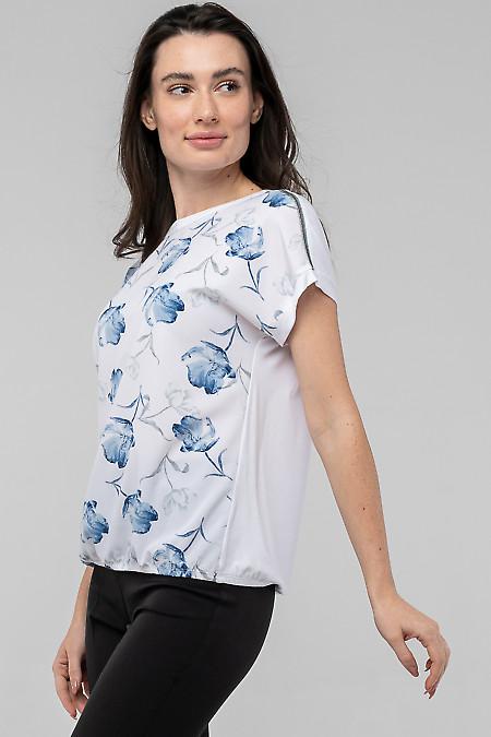 Белая блуза в синие цветы