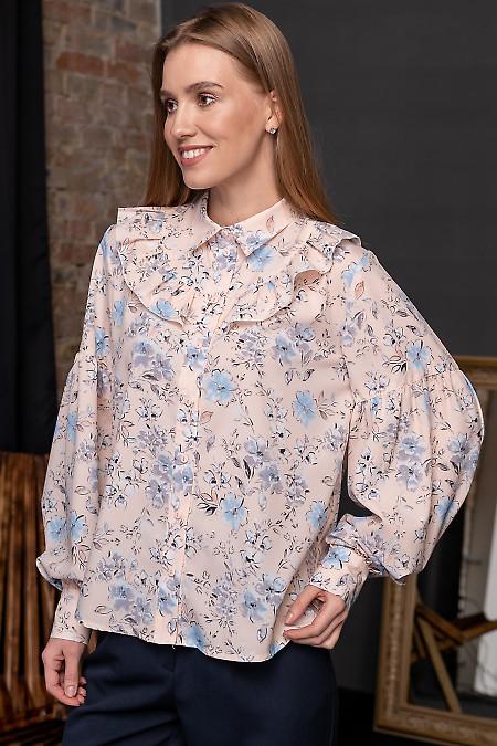 Блуза праздничная в цветочный принт