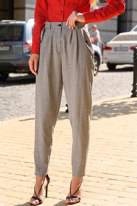 Женские брюки в лапку фото