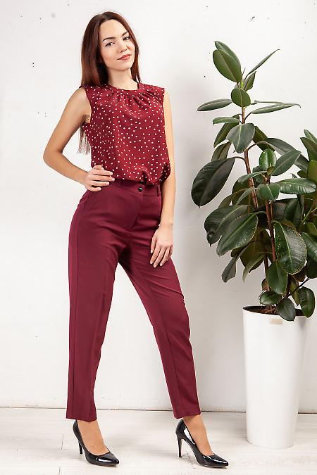 Купить брюки бордовые с карманами. Деловая женская одежда фото