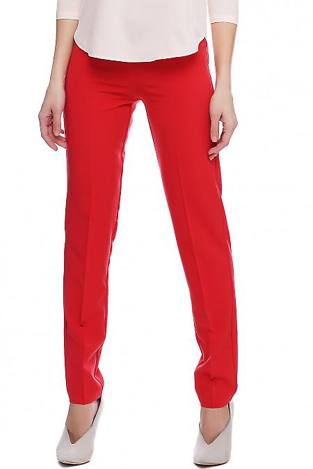 Брюки красные без карманов. Деловая женская одежда