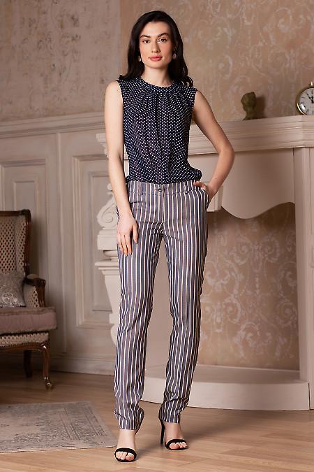 Полосатые женские брюки из костюмной ткани