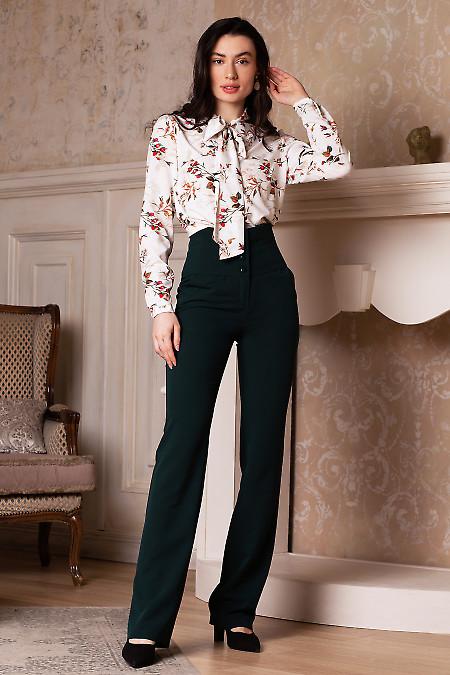 Купить брюки зеленые с высокой посадкой. Деловая женская одежда фото