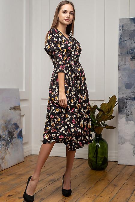 Черное платье миди в цветы. Деловая женская одежда фото