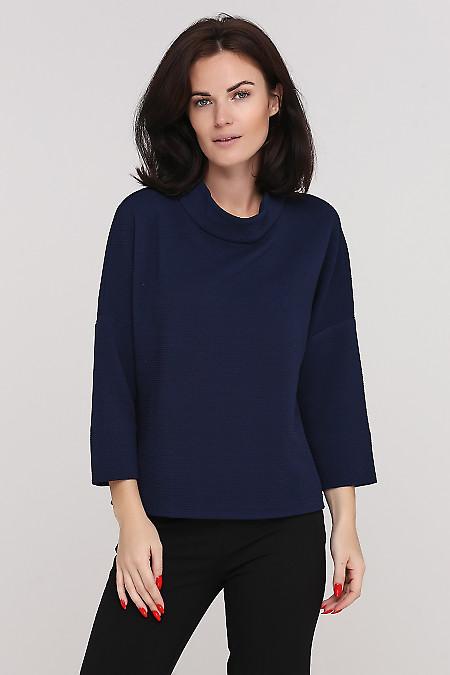 Джемпер теплый синий Деловая женская одежда фото