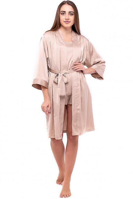 Халат женский шелковый бежевый. Деловая женская одежда фото