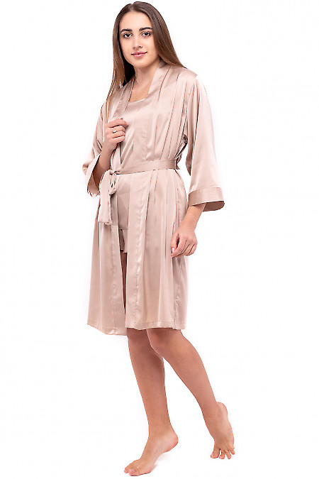 Женский бежевый шелковый халат