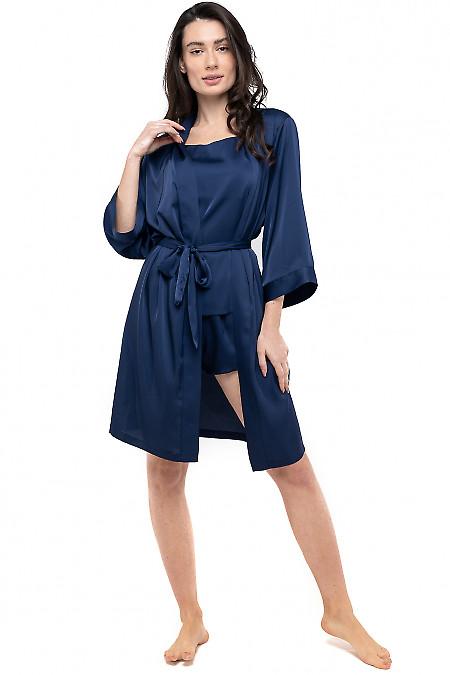 Халат женский шелковый синий. Деловая женская одежда