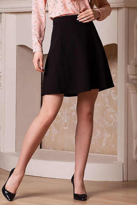 Короткая чёрная юбка с кармашками Деловая женская одежда