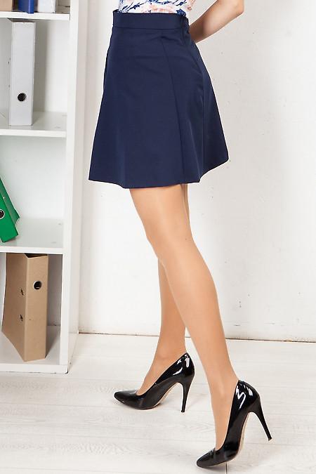 Купить корткую синюю юбку с кармашками. Деловая женская одежда фото