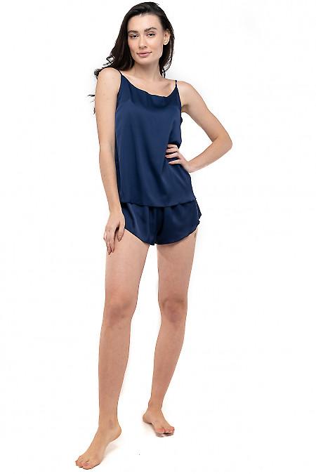 Пижама женская шелковая синяя. Деловая женская одежда