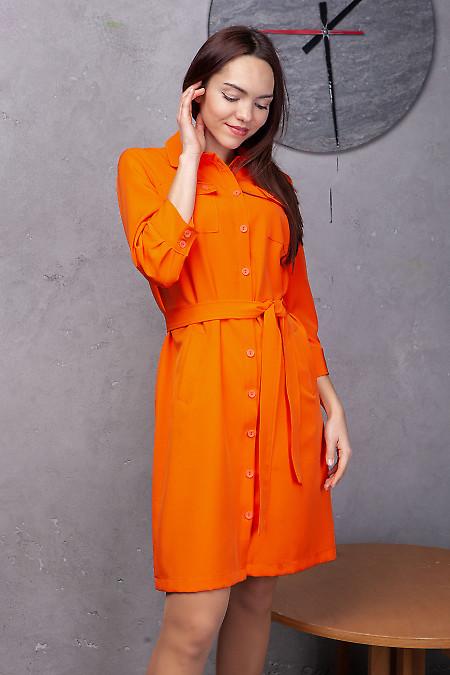 Платье-сафари оранжевое с поясом. Деловая женская одежда фото