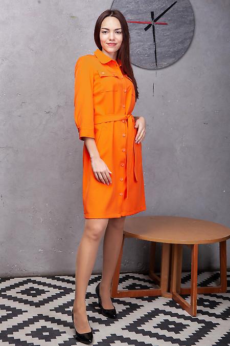 Купить платье-сафари оранжевое с поясом. Деловая женская одежда фото